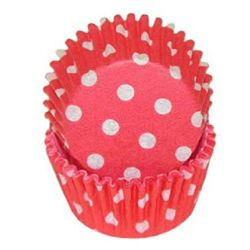Homestyle Mini Baking Cups Polkadot Red 200/pc