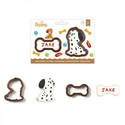 Decora Plastic Cookie Cutter Set Dog & Bone