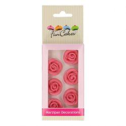 FunCakes Marsepein Decoratie Rozen Roze Set/6