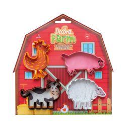 Decora Plastic Cookie Cutter Farm Animals