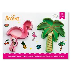Decora Plastic Cookie Cutters Flamingo & Palm Tree