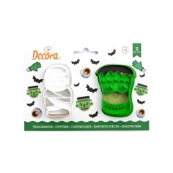 Decora Plastic Cookie Cutter Frankenstein & Mummie
