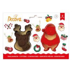 Decora Plastic Cookie Cutter Santa&Rudolph