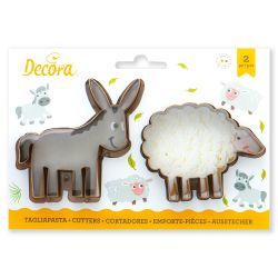 Decora Plastic Cookie Cutters Donkey & Sheep