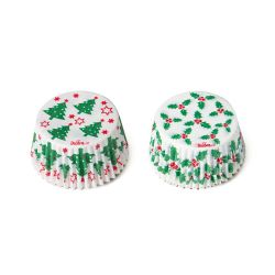 Decora Baking Cups Holly & Tree 36/pc