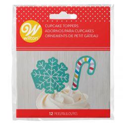 Wilton Cupcake Toppers Snowflake & Candy Cane pk/12