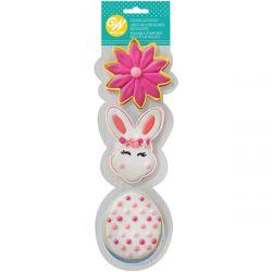 Wilton Cookie Cutter Set Flower/BunnyHead/Egg set/3