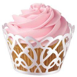 Wilton Cupcake Wraps White Pearl Swirl PK/18