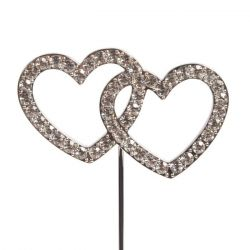Cakestar Cake Topper Diamante Double Heart
