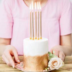 PartyDeco Verjaardag Kaarsen Goud 12,5CM PK12