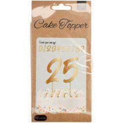 Folat Cake Topper Cijfers Goud 15cm Set/20