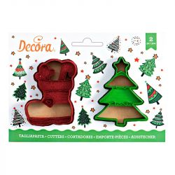 Decora Plastic Cookie Cutter Stocking & Tree