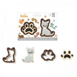 Decora Plastic Cookie Cutter Set Cat & Paw
