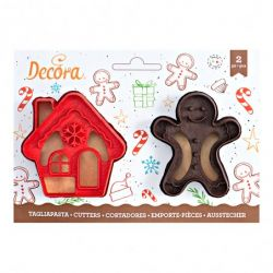 Decora Plastic Cookie Cutter Gingerbread Man & House