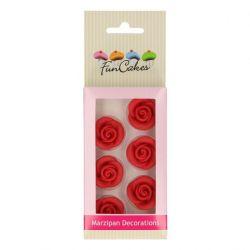 FunCakes Marsepein Decoratie Rozen Rood Set/6