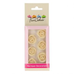 FunCakes Marsepein Decoratie Rozen Wit Set/6