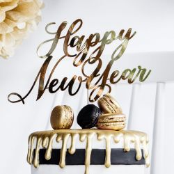 PartyDeco Cake Topper Happy New Year Gold