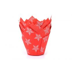 House of Marie Tulip Muffin Cups Christmas Red pk/50