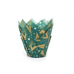 House of Marie Tulip Muffin Cups Christmas Green pk/50