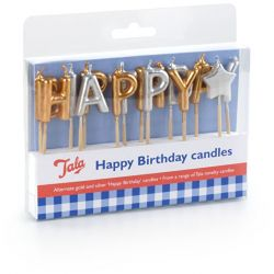Tala Happy Birthday Candles Gold/Silver