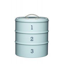 3 tier storage tin blue