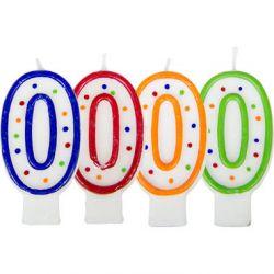 Folat Verjaardagskaars Cijfer 0 - Wit Met Gekleurde Stippen