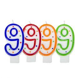 Folat Verjaardagskaars Cijfer 9 - Wit Met Gekleurde Stippen
