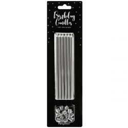 PartyDeco Birthday Candles Silver Set/12
