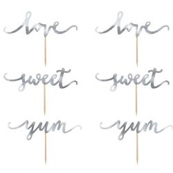 PartyDeco Cake & Cupcake Toppers Love/Sweet/Yum Set/6 - Zilver