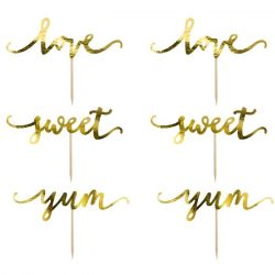 PartyDeco Cake & Cupcake Toppers Love/Sweet/Yum Set/6 - Goud