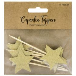 PartyDeco Cupcake Toppers Sterren goud pk/6