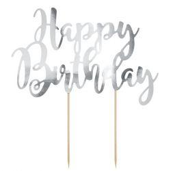 PartyDeco Cake Topper Happy Birthday - Zilver