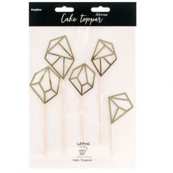 PartyDeco Cake Toppers Diamanten Set/5 - Goud