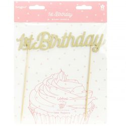 PartyDeco Cake Topper 1st Birthday Goud