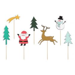 PartyDeco Cake Toppers Merry Christmas Set/7