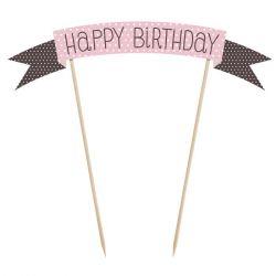 PartyDeco Cake Topper Polkadot Happy Birthday