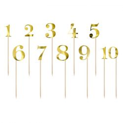 PartyDeco Cake Toppers Tafelnummers Set/11 - Goud
