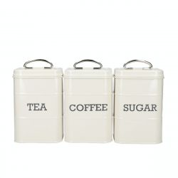 Living Nostalgia Coffee Tea Sugar Storage set/3 Antique Cream