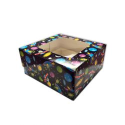 Spaceship Printed Cupcake Box 4-Delig