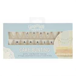 Ginger Ray Cake Bunting Topper Just Married White - Vintage